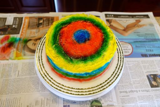 Airbrushed color applied to cake