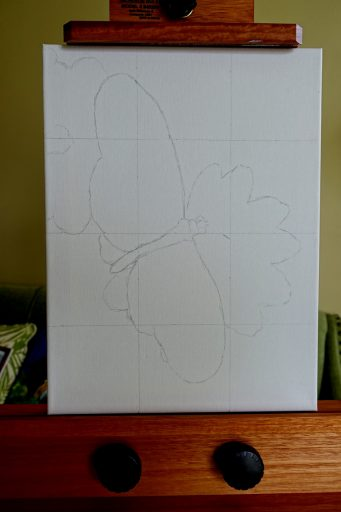 Painting with outline sketched on grid