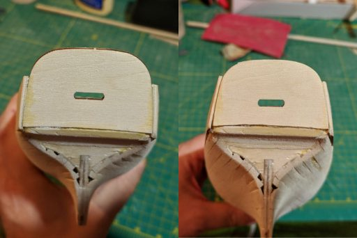 Transom correction before and after