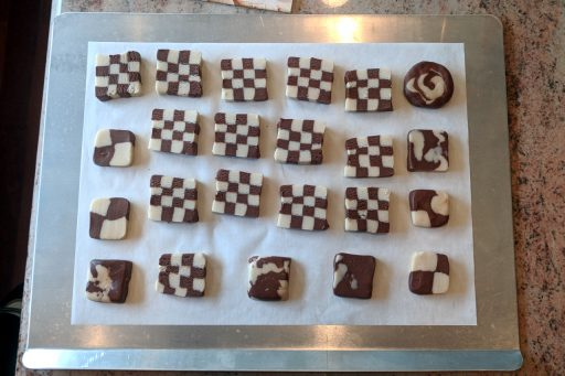Checkerboard cookies ready to bake