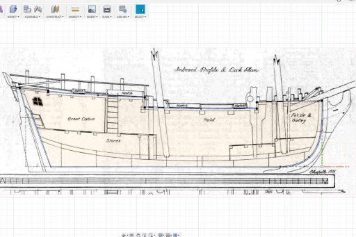 Decks on inboard profile plan