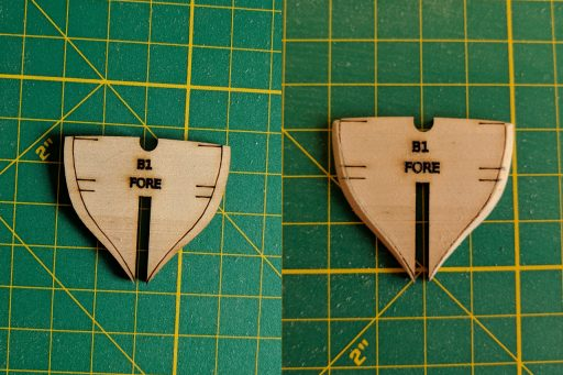 Pieces sanded down using the fairing lines
